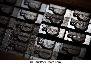 Metal printing press letters - Old vintage metal printing...