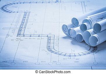Set of architecture blueprint rolls construction concept