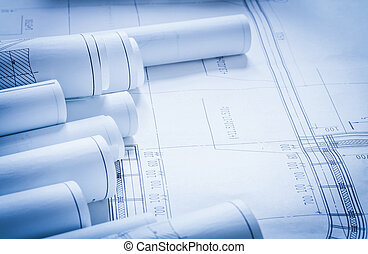 Set of construction plans architecture and building concept