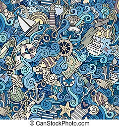Seamless pattern sealife and marine - Seamless abstract...