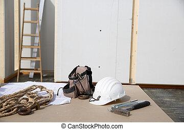 Building equipment, hardware and building plan: helmet,...