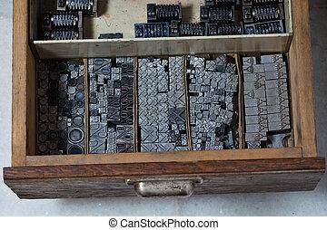 Metal printing press symbols - Old vintage metal printing...