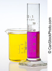 laboratory beaker and calibrated cylinder - clear laboratory...
