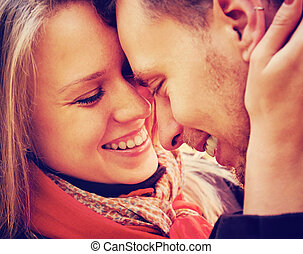 Smiling couple in love