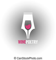 wine glass pen concept background