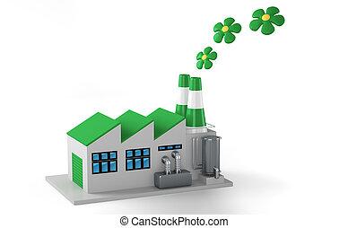 Environmentally friendly factory concept. Green factory...