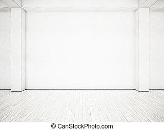 White office interior 3D rendering - Open plane interior...