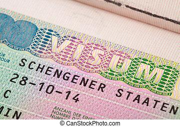 European Union Schengen zone visa in passport - close up...