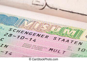 European Union Schengen countries visa in passport - close...