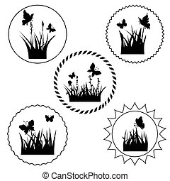 grass label - silhouettes grass and twigs of plants with...