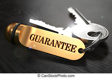 Guarantee - Bunch of Keys with Text on Golden Keychain Black...