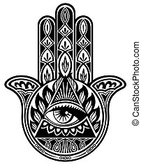 Hamsa hand - Vector decorative hand with eye