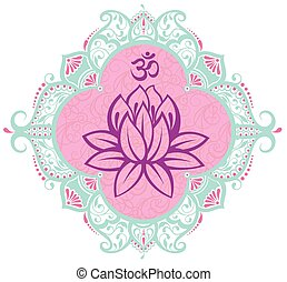 Frame with lotus - Illustration with flower anmbold om sy