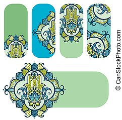 Vector Indian hand drawn hamsa - Hamsa banners