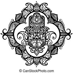 Vector Indian hand drawn hamsa - Hamsa with ethnic ornaments
