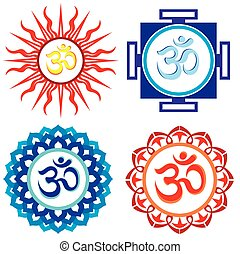 Om symbols - Vector indian spiritual sign ohm