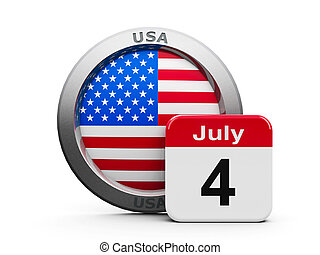 Independence Day - Emblem of USA with calendar button -...