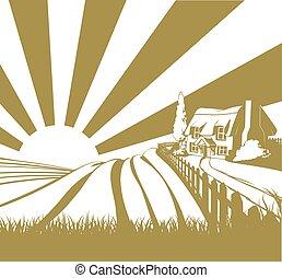 rural, pays, petite maison, scène,