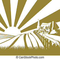 Rural country cottage scene - Thatched cottage farm field...
