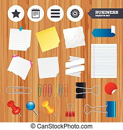 Star and menu list signs Notepad, gear - Paper sheets Office...