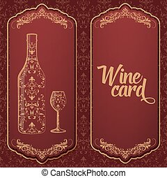 Vector wine card. With bottle and glass on the one side and...