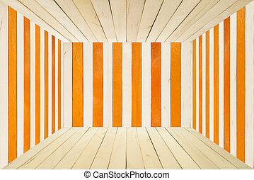 Colorful wood room on wide angle view - Orange wood stripe...