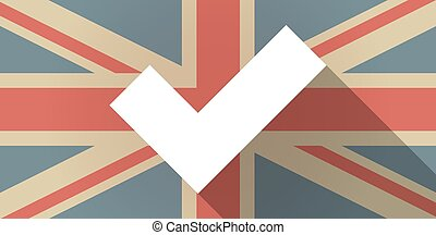 UK flag icon with a check mark - Illustration of a UK flag...