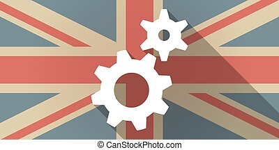 UK flag icon with gears