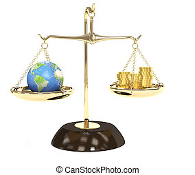 Earth and money - Concept - Earth and money on measurement...