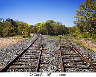 Diverging Track choice concept - Railroad tracks splitting...