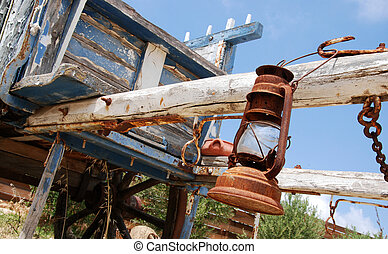 Western carriage.. - Old wooden carriage remanding far west...