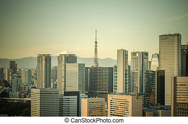 Retro style image of Tokyo, Japan