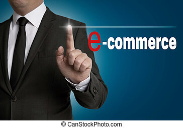 e commerce touchscreen is operated by businessman