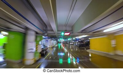 underground parking, time-lapse