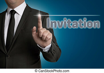 Invitation touchscreen is operated by businessman