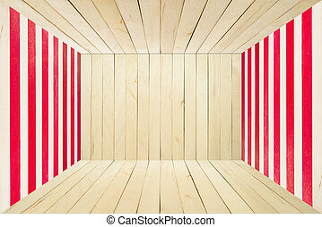 Colorful wood room on wide angle view - Red wood stripe for...