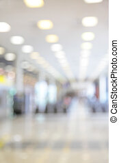 Bokeh of hall in airport - defocused blured background