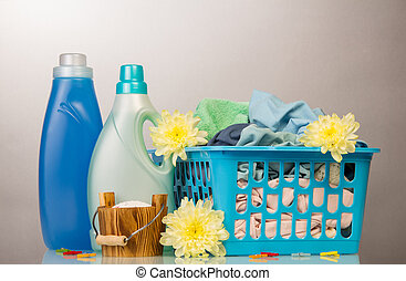 Washing powder and cleaning items with yellow flowers