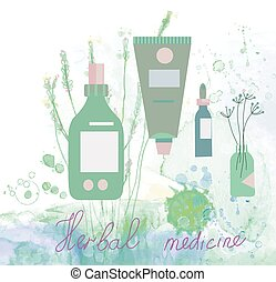 Herbal medicine illustration with bottles and floral...