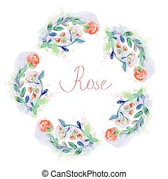 Floral circle frame with roses - watercolor style