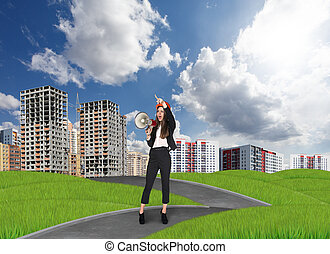 Businesslady in a city - Businesslady in front of the new...