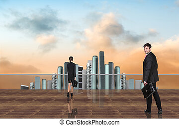 Business People on the roof - Businessman and businesswoman...