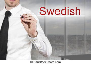 homem negócios, em, escritório, escrita, Sueco, em, a, air,...