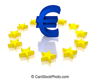 Euro ECB, EU, European Union - Large Euro symbol with the...