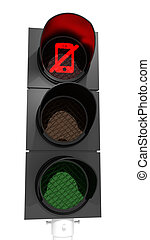 """Turn off your mobile - Traffic light with red-""""No..."""