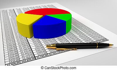 Spreadsheet with pie chart and pen - Spreadsheet and pen...
