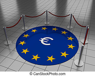 Euro on floor with stars - Round illustration laying on a...