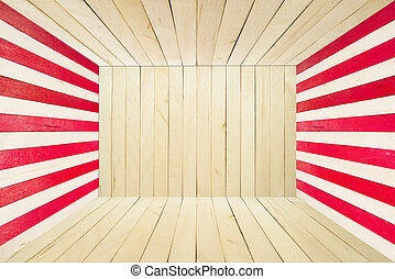Colorful wood room on wide angle view - Red wood stripe room...