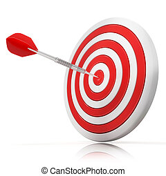 Dart hitting a target, 3d model Isolated on white...