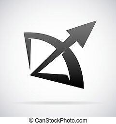 Bow and arrow vector logo design template - Bow and arrow...